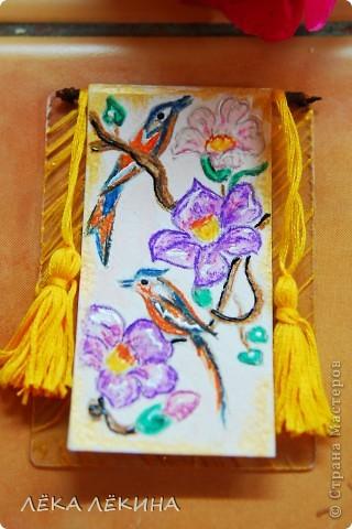 """Серия """"Райские птицы-2"""" по мотивам японких гравюр. Акварельные карандаши, мулине, патинированный пластик - основа. Приорете в выборе - тем кому обещала, так что пишите - не стесняйтесь. Серия на обмен. фото 7"""