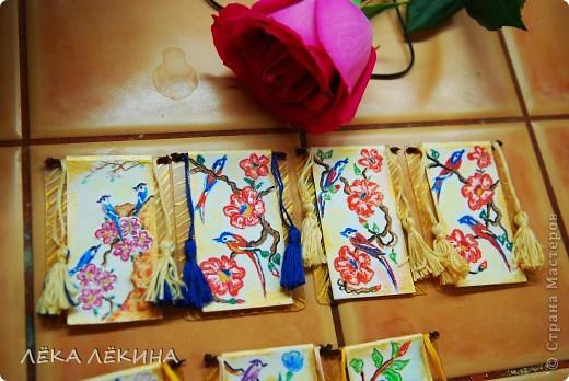 """Серия """"Райские птицы-2"""" по мотивам японких гравюр. Акварельные карандаши, мулине, патинированный пластик - основа. Приорете в выборе - тем кому обещала, так что пишите - не стесняйтесь. Серия на обмен. фото 2"""