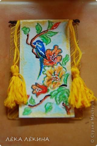 """Серия """"Райские птицы-2"""" по мотивам японких гравюр. Акварельные карандаши, мулине, патинированный пластик - основа. Приорете в выборе - тем кому обещала, так что пишите - не стесняйтесь. Серия на обмен. фото 3"""
