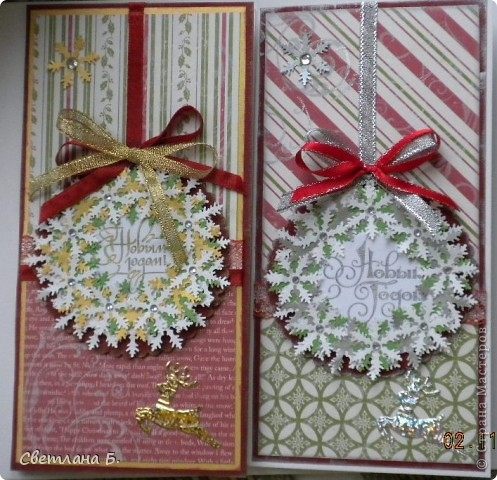 Добрый день. Сегодня я хочу показать вам первую партию Новогодних открыточек. Идею для них нашла у замечательной девушки Светланы Салтыковой http://stranamasterov.ru/node/258388?c=favusers  фото 4
