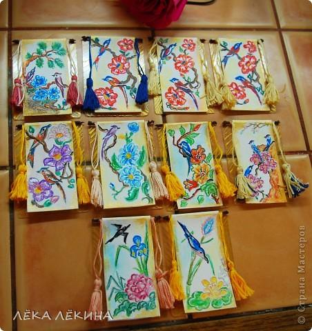 """Серия """"Райские птицы-2"""" по мотивам японких гравюр. Акварельные карандаши, мулине, патинированный пластик - основа. Приорете в выборе - тем кому обещала, так что пишите - не стесняйтесь. Серия на обмен. фото 1"""