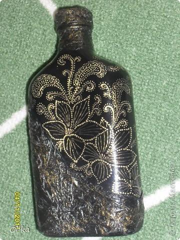 """Затягивае меня магия точек и черточек!!! А я и рада! :) Выставляю на Ваш суд новую бутылочку. Рисунок по мотивам тарелки """"Мечта"""". Только цвет золотой. фото 2"""