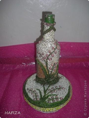 шкатулка из лалье-маше обклеенная яичной скорлупой.                    бутылка украшена бумажным тестом фото 1