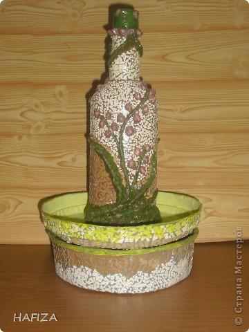 шкатулка из лалье-маше обклеенная яичной скорлупой.                    бутылка украшена бумажным тестом фото 7