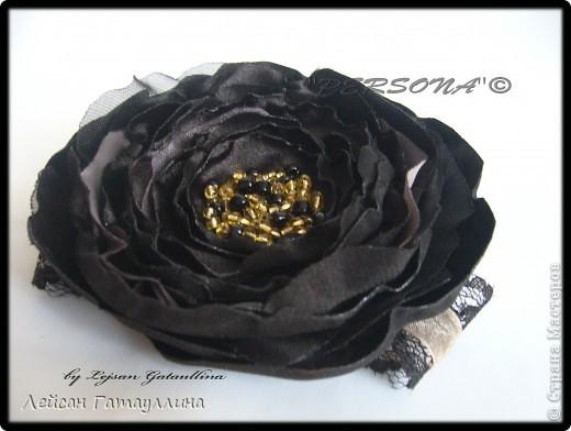 """Заколка-краб  """"Роза-пион"""". Шелк, тафта, атласные ленточки, бусины. фото 28"""