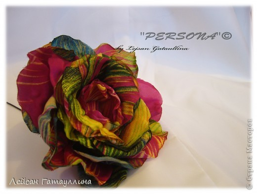 """Заколка-краб  """"Роза-пион"""". Шелк, тафта, атласные ленточки, бусины. фото 31"""