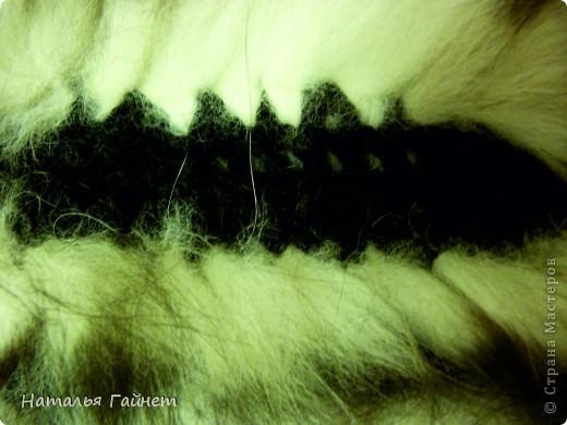 Вязание воротника из пряжи мех