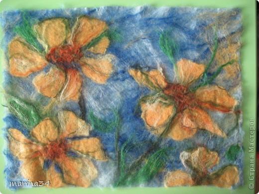 Цветы картина из шерсти шерсть фото 3