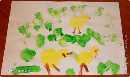 Рисовала все доча (2,2 г.), я только подсказывала и помогала кисточку в краску макать. Но это из последнего...  фото 4