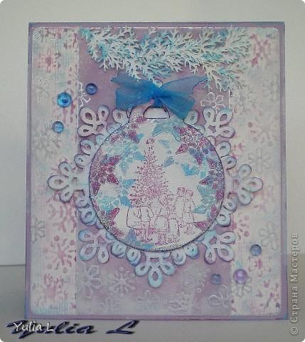 Моя первая в этом году новогодняя открытка, с которой хочу поучаствовать в нескольких заданиях. Подробности в моем блоге http://myhobbyboom.blogspot.com, всегда рада гостям!!!   фото 3