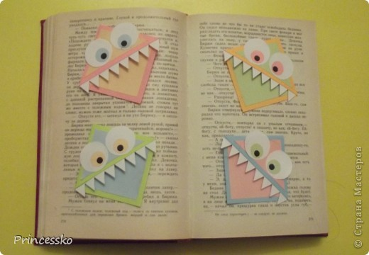 Эти забавные закладки-уголочки сразу покорили моё сердце!!Они такие..зубастые!!Сделаны из офисной цветной бумаги и листочков для записей(у меня 8*8 см). фото 1