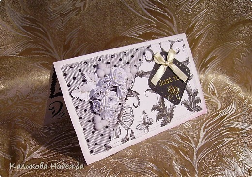 Захотелось использовать салфетку с черно-белым рисунком именно в открытке. А тут и этикетка нашлась в черных тонах (надеюсь, что на ней написаны приличные слова:) фото 6