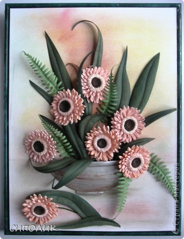 ЗДРАВСТВУЙТЕ ЖИТЕЛИ И ГОСТИ СТРАНЫ!  Сегодня я к вам с герберами. Очень люблю я эти цветы,поэтому не удержалась и попыталась сделать их . Как получилось судить вам, но сама я результатом довольна.  фото 1