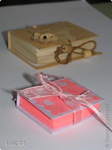 Вот такие  миниатюрные блокнотики у меня получились. Делала по этому МК http://scrapshopchallenge.blogspot.com/2010/11/quest.html фото 1