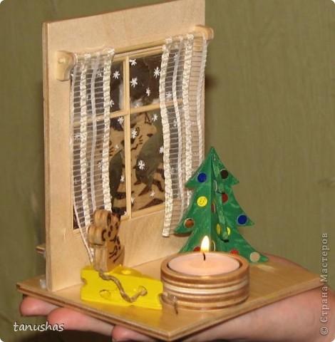 """Не сидится нам с мужем спокойно, руки постоянно чешутся :) Вот, генерировали вместе для друзей подсвечники на год кота. Этот назвали """"За окном"""" фото 2"""