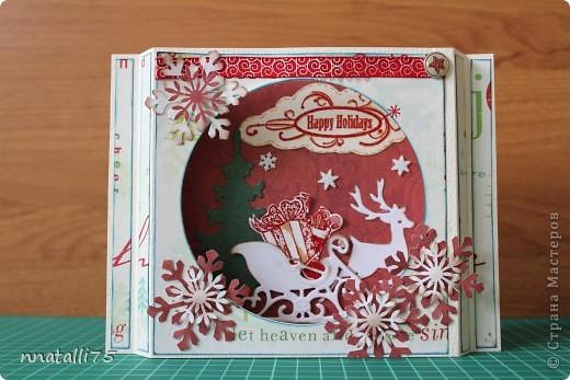 Всем доброго времени суток. Наконец и у нас случилась Новогодняя открытка. Идею подсмотрела здесь- http://scrap-info.ru/myarticles/article_storyid_310.html .Украсила по своему. фото 1