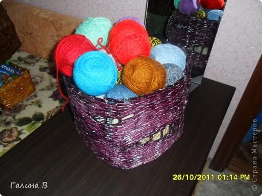Всем,доброго дня!!!Очередная моя плетеночка под клубочки,а то все по пакетам были прятаны.А теперь сразу видно, где какие нитки лежат. фото 1