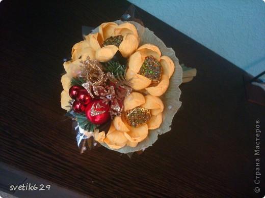 Решила сделать ручные букетики в подарок подружкам на Новый год . Необычно и красиво.Думаю им понравится. фото 4