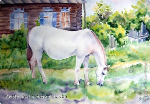 И просятся кони в полет  Акварель Пастель Ткань фото 5
