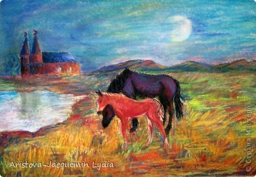 И просятся кони в полет  Акварель Пастель Ткань фото 7
