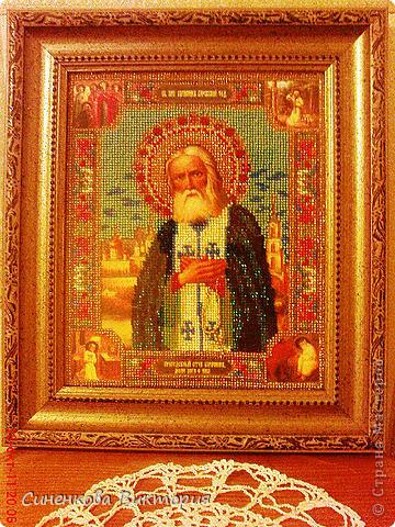 С этой иконы св. прп.Серафима Саровского,вышитой бисером(по благословению) и началась моя любовь к бисеру... фото 10