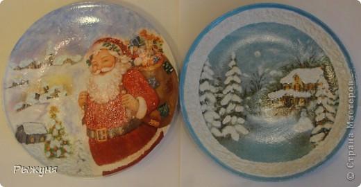 """Здравствуйте Мастерицы!!!! Зима на дворе и поэтому  опять новогодние тарелочки.Использовала мотивы нескольких салфеток, пасту """"белый снег"""", глиттерную пасту, финишный лак Тиккурила фото 1"""