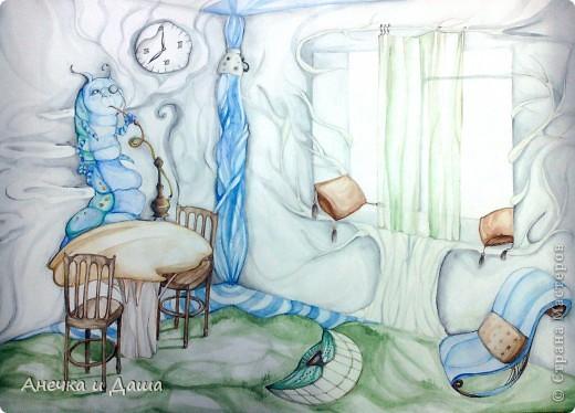"""Здравствуйте! Сегодня я покажу вам некоторые из моих рисунков. На этом фото можно увидеть эскиз и основной рисунок """" Комната Алисы"""". Эта работа выставлялась на конкурс по оформлению комнат, интересным решениям. фото 2"""