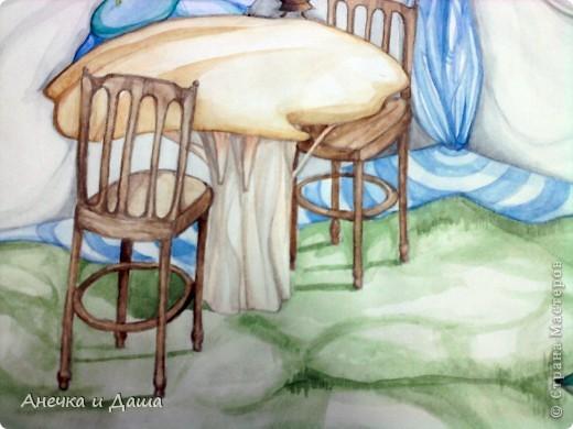 """Здравствуйте! Сегодня я покажу вам некоторые из моих рисунков. На этом фото можно увидеть эскиз и основной рисунок """" Комната Алисы"""". Эта работа выставлялась на конкурс по оформлению комнат, интересным решениям. фото 5"""
