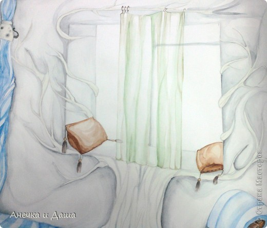 """Здравствуйте! Сегодня я покажу вам некоторые из моих рисунков. На этом фото можно увидеть эскиз и основной рисунок """" Комната Алисы"""". Эта работа выставлялась на конкурс по оформлению комнат, интересным решениям. фото 7"""