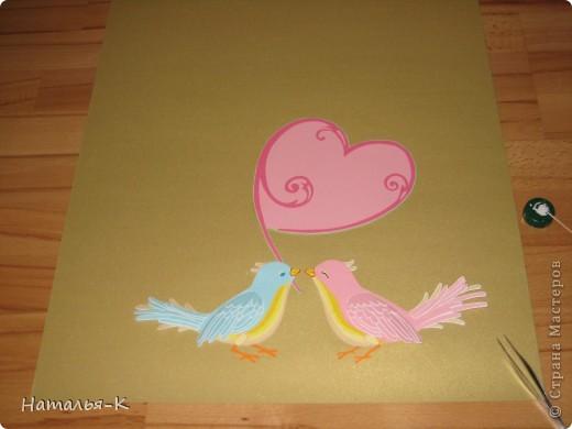 Картина панно рисунок День семьи Аппликация Квиллинг Семейное гнёздышко Бумажные полосы Картон Клей фото 2