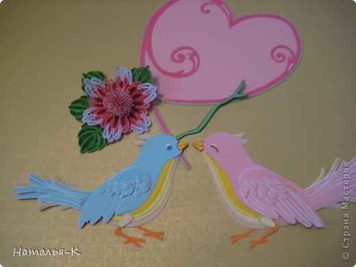 Картина панно рисунок День семьи Аппликация Квиллинг Семейное гнёздышко Бумажные полосы Картон Клей фото 3