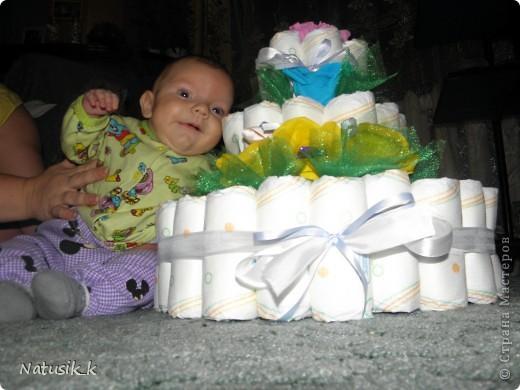 Вот такой памперсный тортик я сделала Артемке на кристины. фото 2