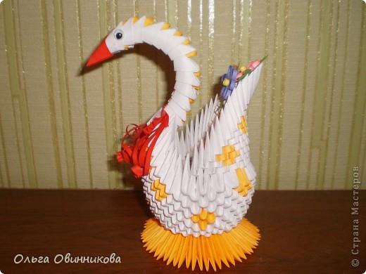 Вот такой оранжево-белый лебедь у меня получился фото 3
