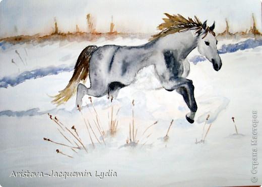 И просятся кони в полет  Акварель Пастель Ткань фото 8