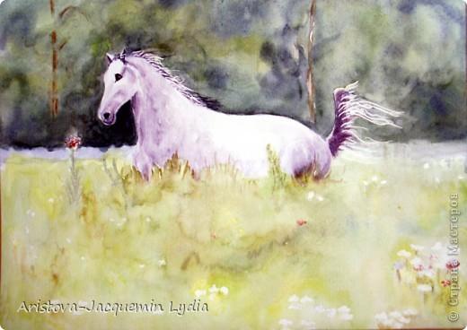 И просятся кони в полет  Акварель Пастель Ткань фото 9