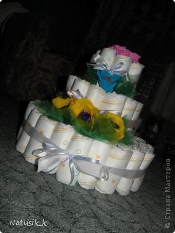 Вот такой памперсный тортик я сделала Артемке на кристины. фото 1