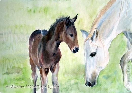 И просятся кони в полет  Акварель Пастель Ткань фото 10