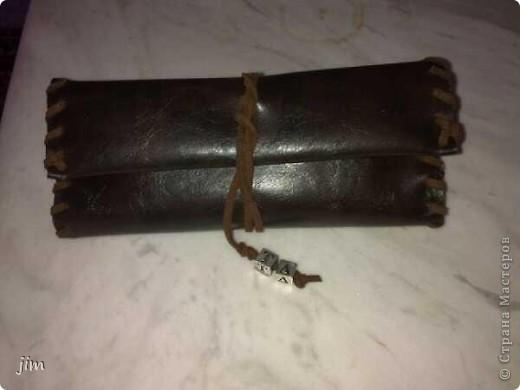 Χειροποίητη Δερμάτινη θήκη καπνού μαζί με θήκη αναπτήρα. фото 4