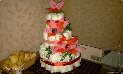 вот такой тортик сделали с доченькой в подарок девочке Евочке на 1 годик фото 1