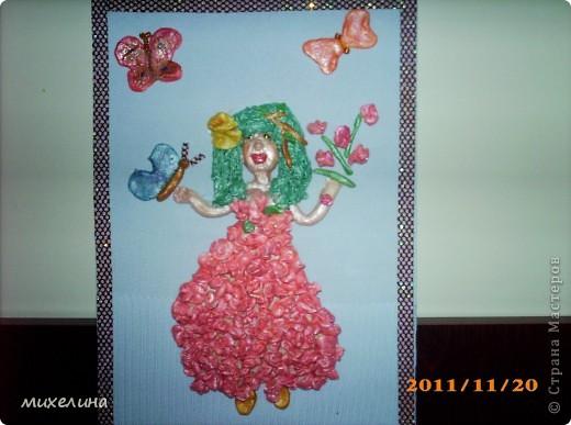 Картина из соленого теста.Девочка-весна фото 1