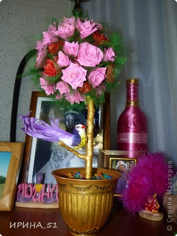 Топиарий сделала  в подарок на День Рождение! Надеюсь имениннице понравится моя работа! фото 2