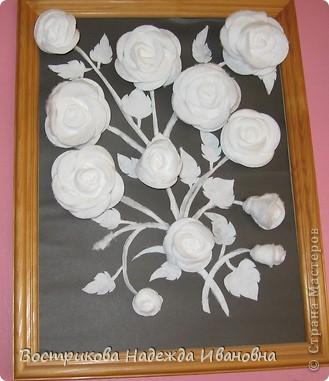 Розы из ватных тампонов фото 2