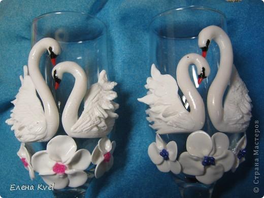 """Свадебные бокалы """"Нежность лебедя..."""" или """"Лебединая нежность..."""" фото 2"""
