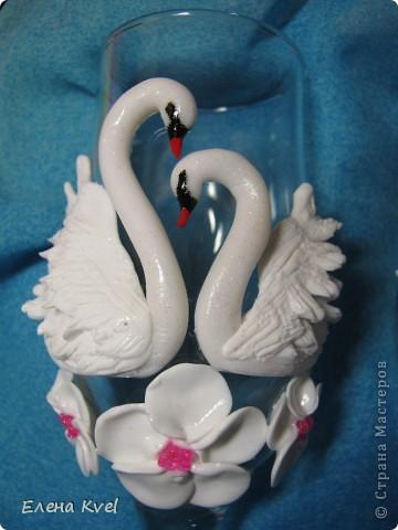 """Свадебные бокалы """"Нежность лебедя..."""" или """"Лебединая нежность..."""" фото 3"""