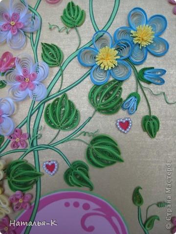 Картина панно рисунок День семьи Аппликация Квиллинг Семейное гнёздышко Бумажные полосы Картон Клей фото 13