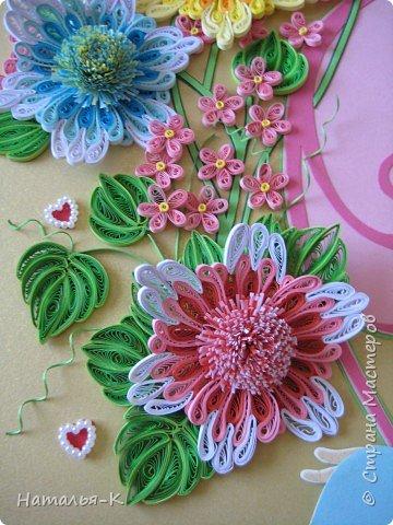 Картина панно рисунок День семьи Аппликация Квиллинг Семейное гнёздышко Бумажные полосы Картон Клей фото 9