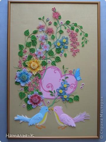 Вот такое сердечное гнёздышко в красивых зарослях цветов у меня получилось. У наших дочери и зятя 23 ноября - 10 летие со дня свадьбы!Картина для них, ну и конечно же ещё плюс денежный подарок. фото 1