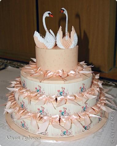 Графика компьютерная Поделка изделие Свит-дизайн День семьи Свадьба Оригами китайское модульное Свадебный торт Бумага Продукты пищевые Скотч Тесьма шнур фото 1