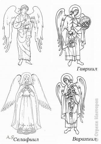 """Ангелы в небе высоком живут, Богу Всевышнему славу поют, К небу возносят молитвы людей, Сладкие грёзы детей. Господи мой, сердце открой, Дай мне услышать ангельский хор! Господи мой, сердце открой, Знаю, Ты Бог живой! Ангелов Бог посылает с небес Для возвещения Божьих чудес, Веру и радость приносят они, Вестники Божьей любви.  Ко дню Архистратига Михаила и всех небесных сил бесплотных (21 ноября) делали с ребятами в Воскресной школе такую коллективную работу. Раздавала детям рисунки Ангелов, они их раскрашивали-дорисовывали и наклеивали на """"набо"""". фото 11"""
