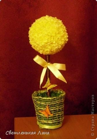 Вот и у меня появилось первое деревцо!!! Для начала, первое, я выполнила в технике торцевания на пластилине. Захотелось чтобы оно было солнечное:) Вот и бабочки прилетели...  Мне оно очень нравится:) Еще хочу сделать кофейное и цветочное деревца...